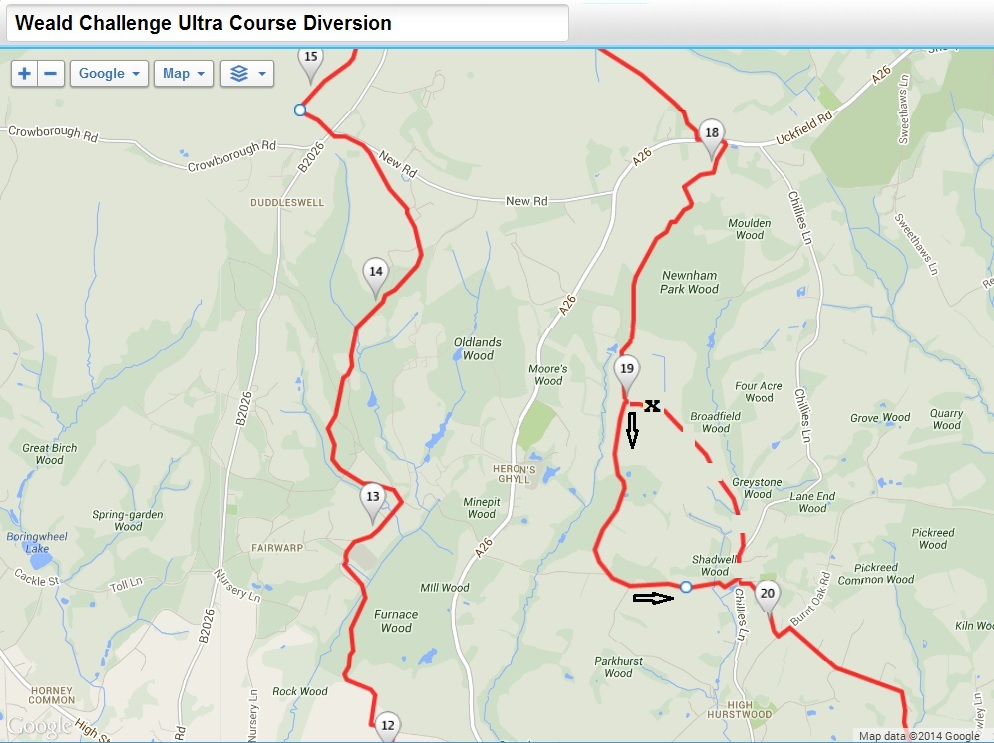 Weald Challenge Ultra Route Diversion